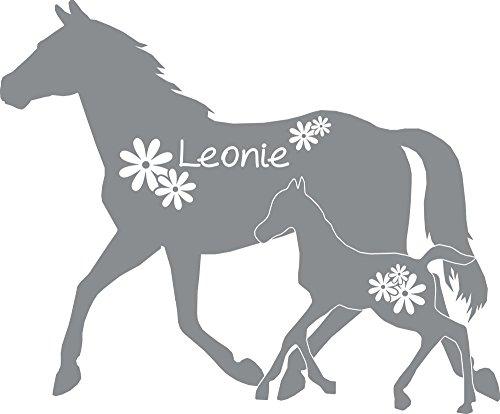 GRAZDesign 300052_50_WT074 Wandtattoo Name für Mädchenzimmer - Wunschname mit Pferd Fohlen Blumen (60x50cm // 074 Mittelgrau)