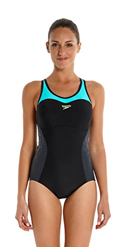 Speedo Fit Racer Back - Traje de Baño para Mujer, color negro (black/oxid grey/bali blue), talla 40 (Talla fabricante: 34)