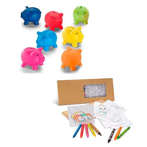 10 Sets Plantillas con Dibujos y Ceras para Colorear + 10 huchas Cerdito en PVC. Regalo para cumpleaños de niños, Comunión, Bodas, colegios y Fiestas Infantiles.
