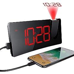 Réveil Projection Plafond avec écran Incurvé à LED 5 '', 4 Niveaux de Luminosité, Réveil Numérique avec Port de Chargement USB, Reveil Projecteur Rotatif à 120 °, Opération facile, Snooze, 12/ 24H