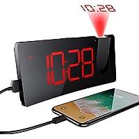 MPOW Réveil Matin avec écran Incurvé à LED 5 '', Réveil Projection Plafond avec Port de Chargement USB, 4 Niveaux de Luminosité, Réveil Numérique Rotatif à 120 °, Opération facile, Snooze, 12/ 24H