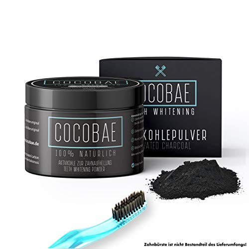 Cocobae Teeth Whitening - Natürliche Aktivkohle Für Weiße Zähne-Kokosnuss Dental Zahnreinigung - Bleiche Bleaching - Activated Charcoal Powder - Crest-gel-zahnpasta