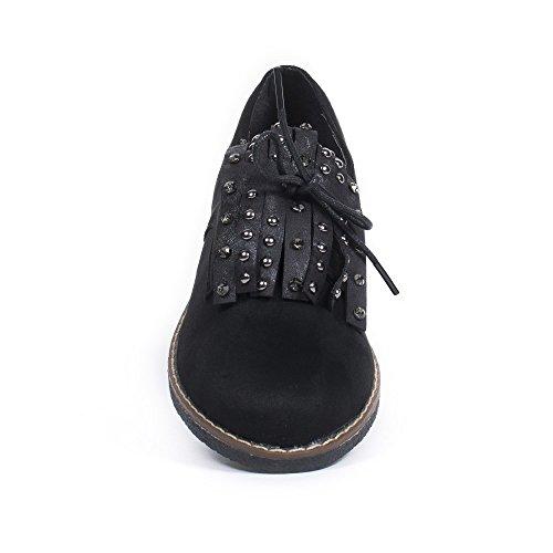 Ideal Shoes Derbies Effet Daim avec Franges Cloutées Ursel Noir