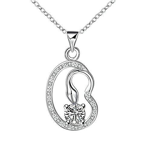 AMDXD Bijoux Plaqué argent pendentif Colliers pour femme Argent 4griffes rond Cristal Collier
