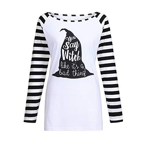 VEMOW Elegant Damen Frauen Casual Langarm Gestreiften Halloween Print Bottom Bluse Casual Täglichen Party Freizeit Top Shirt Hem(Schwarz, ()
