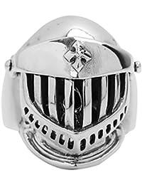 Aienid Banda de Boda Compromiso Anillo 925 Libra Esterlina Anillo para Hombres Casco Cráneos