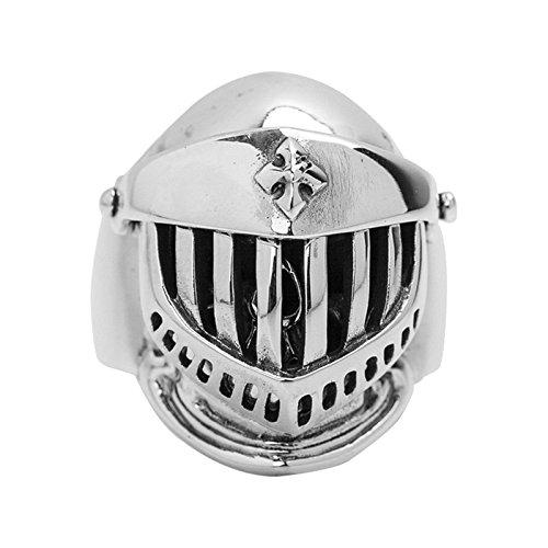 Amody S925 Sterling Silber Totenkopf Ritter Helm Ring Finger Herrenring Size 61 ()