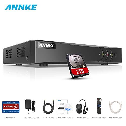 ANNKE DVR 8 Kanal 4K HD 5in1 TVI/AHD/CVI/CVBS/IPC DVR Receiver Netzwerk Digital Video Recorder mit 2TB Festplatte für CCTV Überwachungskamera P2P HDMI VGA Ausgang,Smart Search Cctv Digital Video Recorder