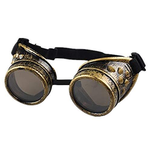 DAY.LIN Sonnenbrille Damen Herren Vintage Style Steampunk Brille Schweißen Punk Gothic Brille Cosplay (D)