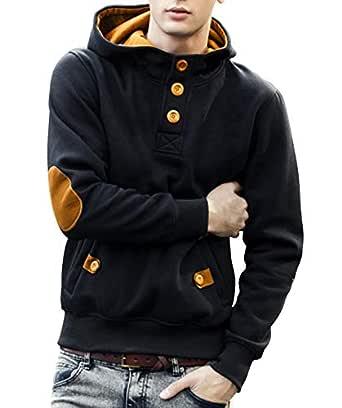 Seven Rocks Cotton Men's Hoodie Sweatshirt Jacket (S-SW4-BLMT, Black-Mustard, Small)