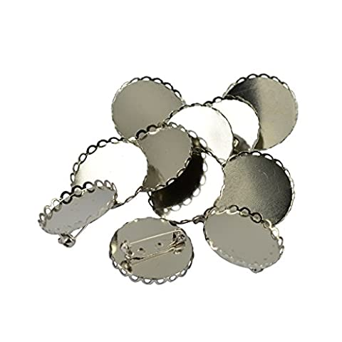 MagiDeal Brooch Blanks Findings Lapel Pin Base 25mm Round Flower Pad 10 Pieces - Silver