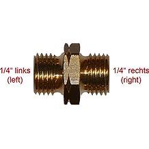 """Verbinder für Gasschlauch 1/4"""" oder 3/8"""" links und rechts - Schlauchkupplung Übergangsstücker (1/4"""" links X 1/4"""" rechts)"""