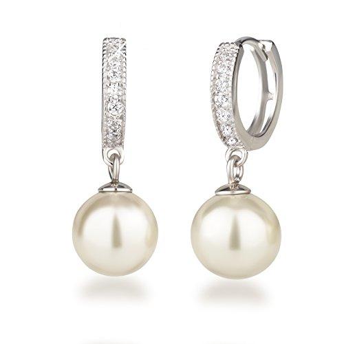 925 Silber Rhodium mit glitzernden Zirkonia und 10mm Perle cremeweiß, Ohrringe ()