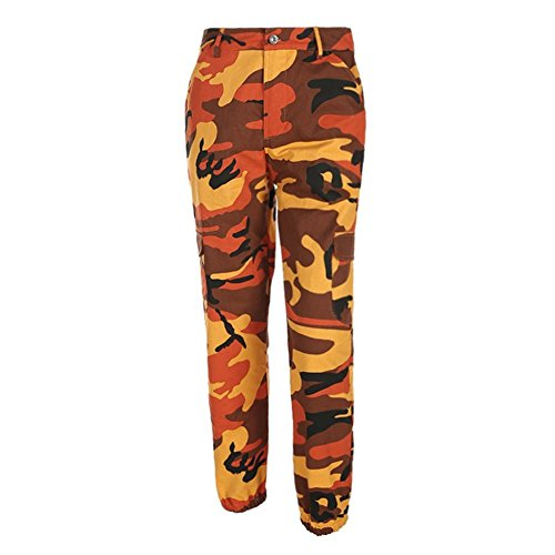 Huateng Frauen Camouflage Hose - Jogger Dance Pant, Militärhose Hip Hop Jogger Dance Pant