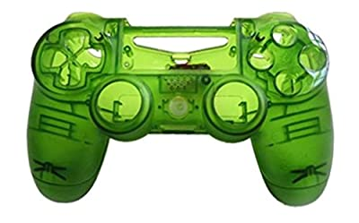 JYR Wireless Handle Hard Shell Transparent Color Shell Case for PS4 Game Controller - Transparent - green