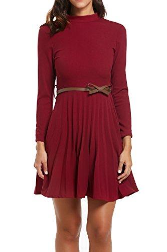 Zeagoo Damen Abschlusskleider Festliches Kleid Etuikleid Cocktailkleid mit Stehkragen (EU 40(Herstellergröße:L), Weinrot) -