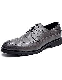 Apragaz Party-Kleid Schuhe für Herren Klassische PU-Leder Brogue Schuhe Klassische Lace Up Breathable Formale Business ausgekleidet Oxfords (Color : Grau, Größe : 43 EU)