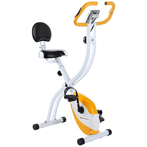 Ultrasport exercise bike F-Bike 200B with hand pulse sensors, with backrest, foldable, Silver/Orange
