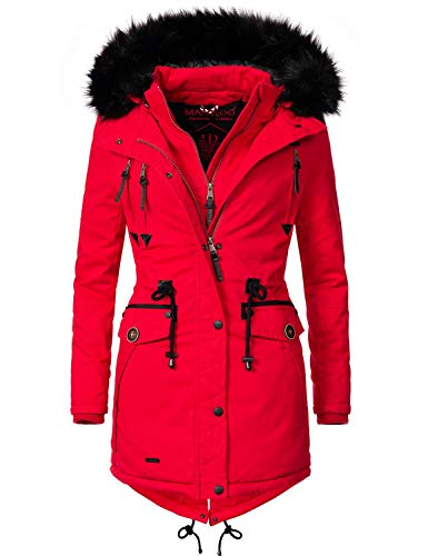 Marikoo Damen Winter Mantel Winterparka Rose (vegan hergestellt) Rot Gr. XL