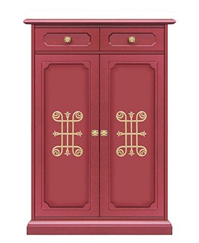 fries tueren Möbel für Schuhe: 1 Schubfach/2 Türen, Schuhschrank aus Holz in rubinrot mit goldenen Friese, Möbel im Stil in lackierter Farbe für Flur/Schlafzimmer