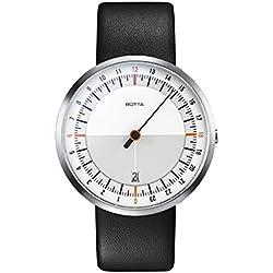 Botta Diseño de uno de 24Color Blanco Naranja Reloj de pulsera–24H einzeiger Reloj, acero inoxidable, cristal de zafiro antirreflejos, correa de piel