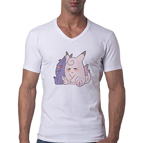Pokemon Clefairy Fairy Cartoon Shy Red Pink Herren V-Neck T-Shirt Weiß