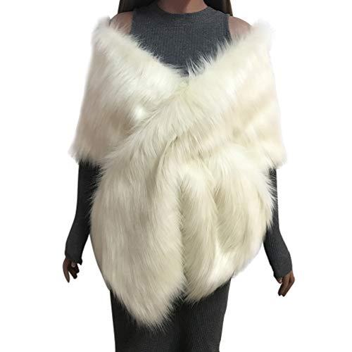 Yuandian donna sposa matrimonio lungo coprispalle mantelle di pelliccia ecologica spalla incrociata morbido caldo elegante pellicce sintetica bolero stola poncho scialle beige taglia unica