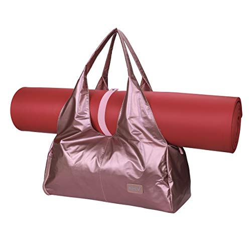 Bolsas de Gimnasio Mujeres, Zip Bolsa de colchoneta de yoga Grande, Bolsa de asa de yoga con correa, con Compartimento para Zapatos y Bolsillo Húmedo Bolsa de Viaje para Natacion Bailando Rosa