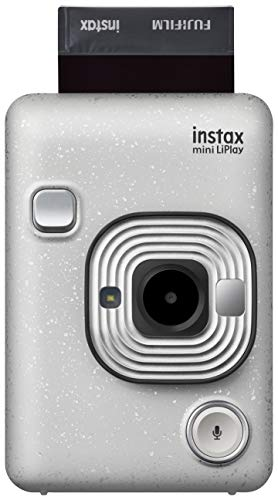 fujifilm instax mini liplay stone white fotocamera ibrida istantanea e digitale, registra 10 di audio sulla foto con la funzione sound, remote shooting e bluetooth, foto formato 62 x 46 mm