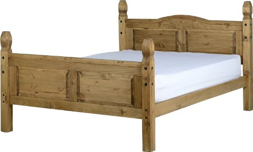 Corona Mexican 5' King Bed Frame Solid Pine Distressed Waxed Finish