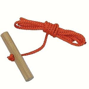 Looping-Lu Schlittenseil mit Holzgriff aus Buchenholz 1 Zugseil (Orange)