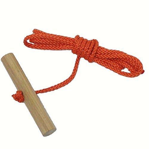 Unbekannt Schlittenseil Zugseil 1,50 mtr. lang mit Buchenholzgriff für Schlitten Bobs Rodel viele Farben lieferbar (orange)