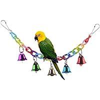 Columpio colorido con campanas para pájaros