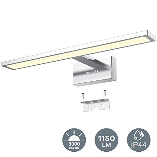 Novostella 15W Luce Specchio Bagno, 1150LM LED Alluminio Illuminazione Bagno, Bianco Caldo 3000K, Impermeabile IP44, Applique Faretto Specchio Arredo Bagno 430 * 95 * 135mm