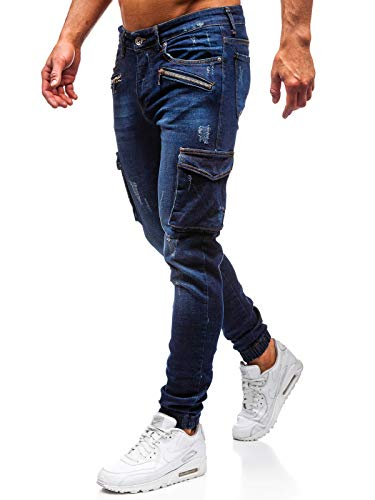 BOLF Hombre Pantalón Vequero Jogger Denim Pantalones