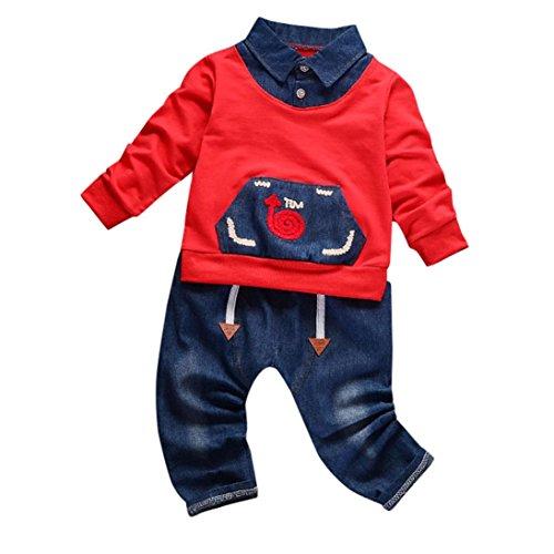 SUCES Kleinkind Säugling Kleine Babyjunge gedruckt Kleider Set Mit niedlich draussen Sport Baby Mädchen Jungen Sports Kleidung Set mit Streifen Kapuzenpulli Langarmshirts + Lang Hosen (3T, Red) (Blau-streifen-wolle-anzug)
