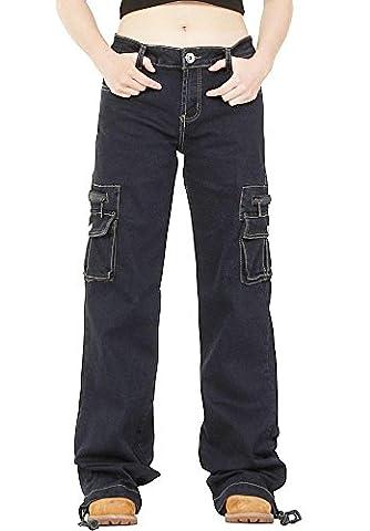 Dark Wash Wide Leg Combat Cargo Jeans - Indigo