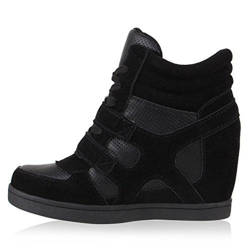 Stiefelparadies , chaussures compensées femme Noir - Noir