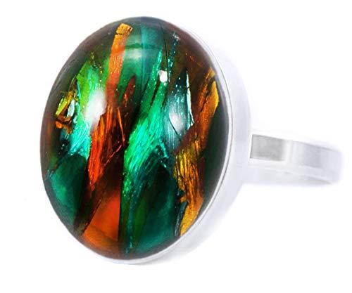 Gold Rush Collection, Emerald-Grün-Gold-Kristall-Gestreift, 925 Sterling Silber Runde Klassische Ring, Größe 15, US 7.5, Handgemachte BohemStyle -