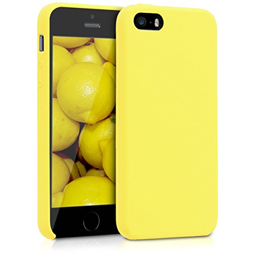 kwmobile Apple iPhone SE / 5 / 5S Cover - Custodia per Apple iPhone SE / 5 / 5S in Silicone TPU - Back Case Cellulare Giallo Fluorescente