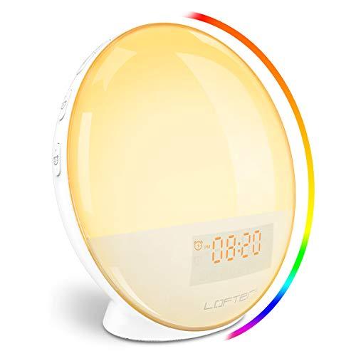 Wecker Alba WiFi LOFTer Wake Up Light LED Intelligente Nachttischlampe Digital Uhr Kompatibel mit Alexa Echo und Google Home mit Doppelwecker, FM-Radio, 7 Farben dimmbar