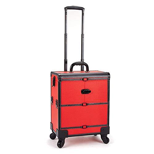 Zzyq Beauty Trolley-Box-Reise-Make-Up-Etui, Großer Universalrad-Mehrschicht-Werkzeugkasten,Red