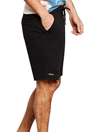 Herren Threadbare Leyton Jogging Shorts Neu Gerippt Stoff Knielang Fitnessstudio Jogginghose Schwarz