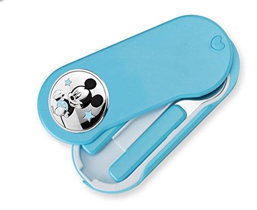 Couverts de voyage pour bébé avec ornement de Argent bilaminda de Mickey Mouse. Couleur bleu.