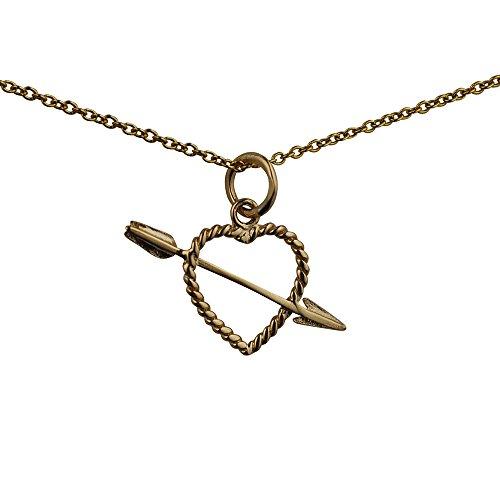 Oro 9ct-375/1000-13x 21mm Cuore torciglione con freccia ciondolo Cupido con catena Cable, In oro giallo (Oro Cupido Cuore)