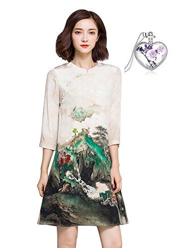 Leona-de FrauenSommerkleidneueSeidenraupeSeidenkleid ModeschlankebedrucktenKleidmiteinemRock (L, Drucken)