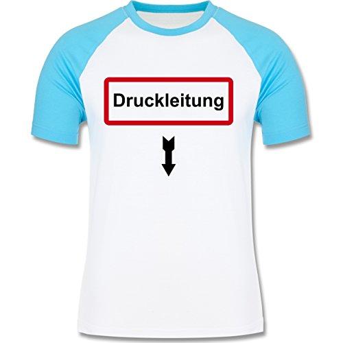Feuerwehr - Druckleitung - zweifarbiges Baseballshirt für Männer Weiß/Türkis