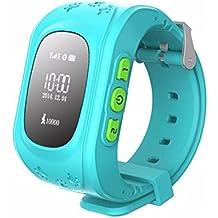 Joyeer Smart Watch bebé reloj niño seguro Finder GPS teléfono con Pantalla OLED Tarjeta SIM Llamadas SOS Voz Chat Reloj de pulsera Localizador GPS Tracker Anti-Lost Kids Monitor para iOS Android , navy blue