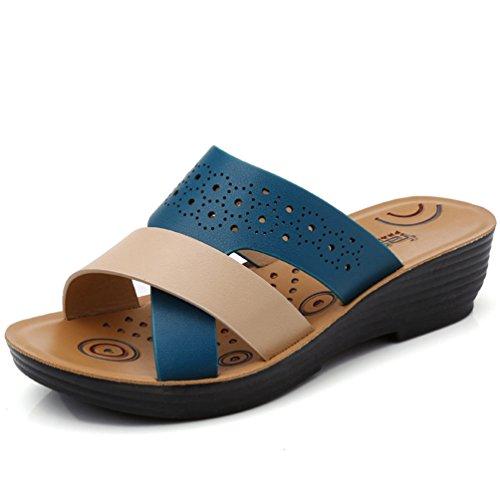 Franco Sarto Peep Toe (JRenok Damen Sandalen Open Toe schieben Sandalen Slipper Lässig zu Fuß Keile Plattform Sommer Strand Hausschuhe)