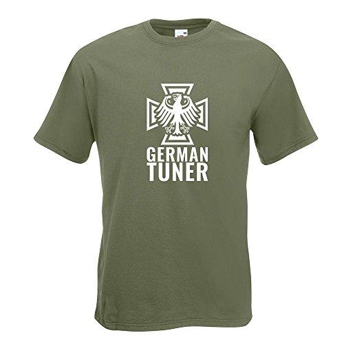 KIWISTAR - German Tuner - Eisernes Kreuz T-Shirt in 15 verschiedenen Farben - Herren Funshirt bedruckt Design Sprüche Spruch Motive Oberteil Baumwolle Print Größe S M L XL XXL Olive